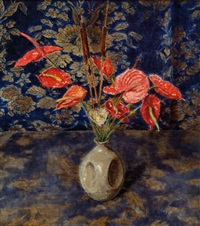 red flowers in a vase by a curtain by felicien bobeldyk