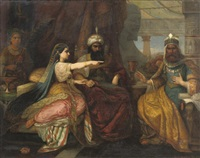 esther seating next to king ahasver of persia, pleading for the jewish people by david jacobsen