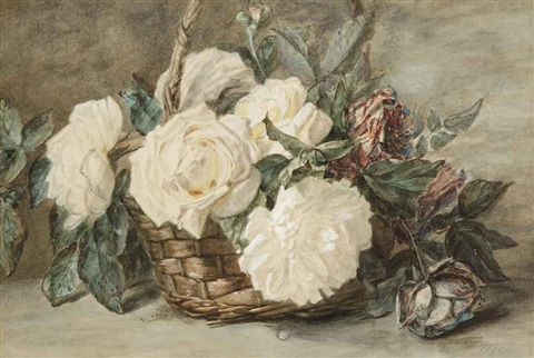 roses in a basket by adriana johanna haanen