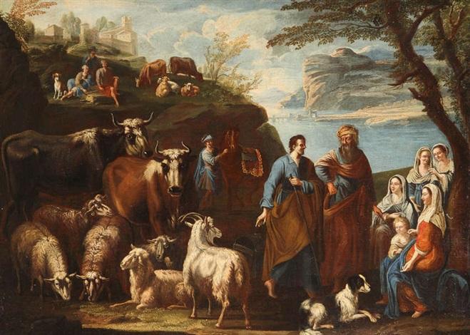 scène pastorale animée de taureaux de boucs de moutons et de figures by philipp peter roos