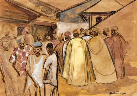 crowd scene by ben enwonwu