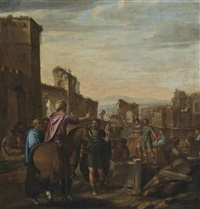 classical figures inspecting the construction of an edifice by claes cornelisz moeyaert