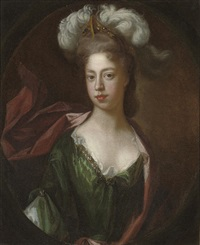 portrait of a lady in green bejewelled classical dress and red wrap, with a plumed head-dress by charles d' agar