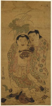 a portrait of the wagojin (benizuri-e) by ishikawa (nishimura shigenobu) toyonobu