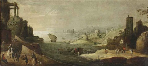 an italianate harbour view with fishermen and horsemen in the foreground by joos de momper the younger