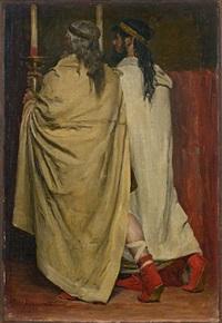 deux hommes en toge, de dos, tenant un chandelier; étude pour les récits des temps mérovingiens d'augustin thierry (study) by jean paul laurens