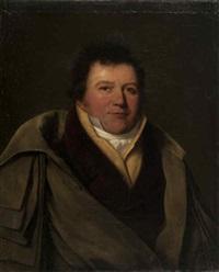 portrait d'homme en gilet jaune, chemise et cravate blanches, veste mauve et redingote by henri françois riesener