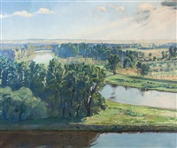 confluence of the elbe and vltava below mělník by adolf j. (jelinek) alex