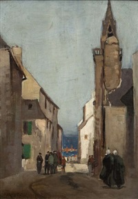 figures in a breton streetscape by norman garstin