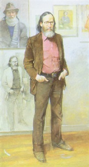 portrait of harvey dinnerstein (with self portrait on wall) by burt silverman