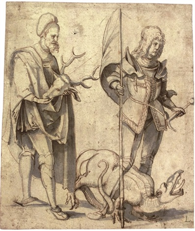 saint hubert and saint george by hans suess von kulmbach