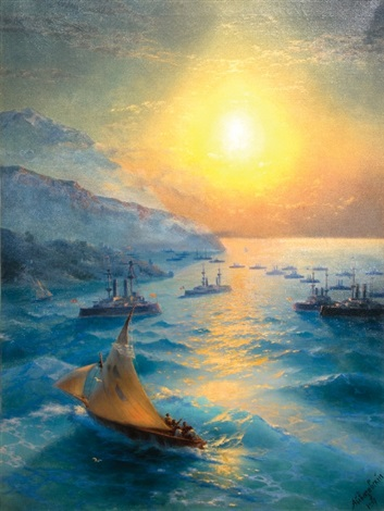naval squadrons off the coast of crete by ivan konstantinovich aivazovsky