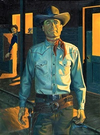 man preparing for shootout, others watching (bk illus.) by george gross