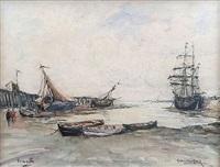 le port de trouville à marée basse by georges rose