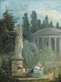 jeune femme près du temple de l'amour by hubert robert