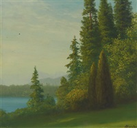 landscape with trees and lake by albert bierstadt