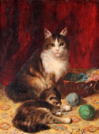 chatte et chatons by jules leroy