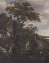 a wooded river landscape with travellers by a bridge by michel van vries