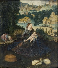 le repos de la sainte famille pendant la fuite en egypte by joachim patinir