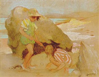 children playing among the rocks by lancelot roberts
