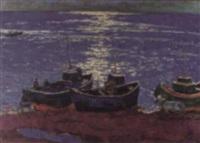 barcos de pesca al atardecer by oleg mikhailov