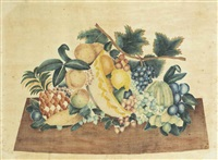 a theorem picture, white and yellow bowl with pineapple, grapes, peaches and strawberries by american school (19)