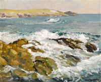 waves on a rocky coast by paul dougherty
