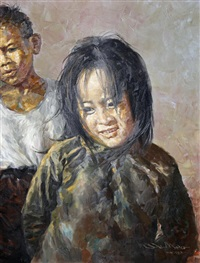portrait of a young girl by lo hing kwok