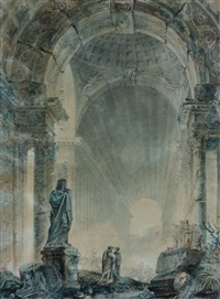 fantaisie architecturale à l'antique animée de personnages by esmain and hubert robert