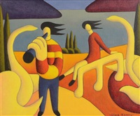 soft musician with swans by alan kenny