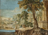 an arcadian landscape with figures by classical ruins by pierre antoine patel