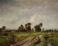 landschaft mit bauernhäusern by otto piltz