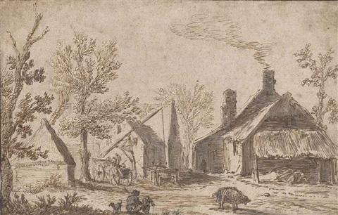 a farmyard with figures resting by jan josefsz van goyen