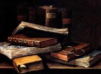 nature morte aux livres et aux bésicles by n. labatie