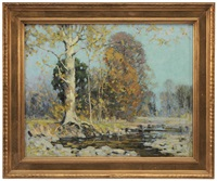 autumn trees by a river by alfred heber hutty