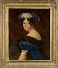 portrait d'etiennette d'aligre, marquise de pomereu (morte en 1866) by henri-joseph hesse