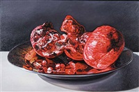 pomegranates on metal plate by robert lemay