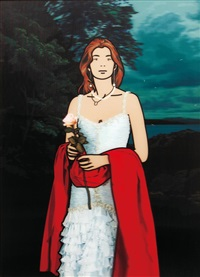 maria teresa with red shawl by julian opie