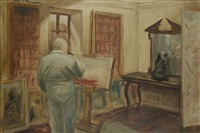 study of winston churchill painting in his study at chartwell by john spencer churchill