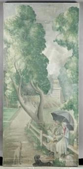 an english holiday - couple in the rain by mary adshead