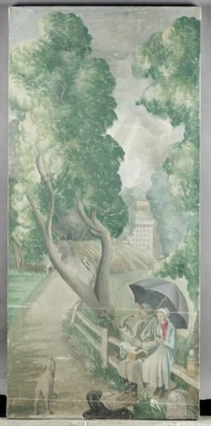 an english holiday couple in the rain by mary adshead