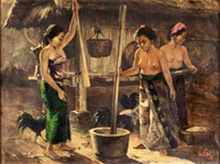 menumbuk padi (pounding the paddy) by hasim