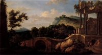 a southern landscape with figures and animals on and near a bridge beside classical ruins by anglo-dutch school (18)