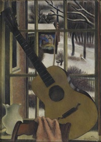 window still life with guitar by simkha simkhovitch