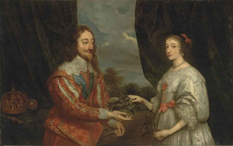 double portrait of king charles i and queen henrietta maria three quarter length with a laurel leaf before a draped curtain a wooded landscape beyond by sir anthony van dyck