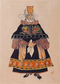 untitled (costume designs from solveig; 2 works) by aleksandr yakovlevich golovin