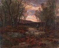 bergère et son troupeau au coucher du soleil by raymond desvarreux-larpenteur