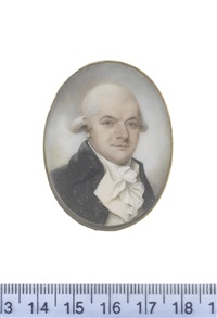 a gentleman, wearing black coat, white waistcoat, frilled chemise, stock and cravat, his powdered wig worn en queue by thomas hull