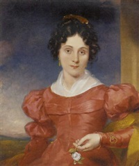 portrait of a lady in a red dress with a pearl necklace, jeweled gold bracelet and ring, and a white rose in her hand, by a column in a landscape by george clint