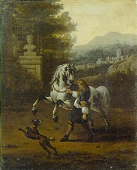 a page holding a grey in classical garden, a landscape beyond by evert oudendyck